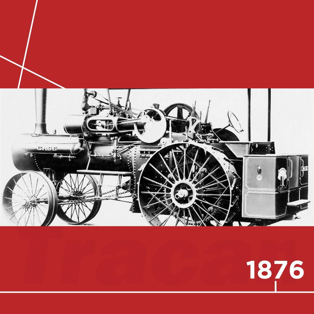 📆 1876 - A Case cria o primeiro motor a vapor com tração automotora. Mas ainda são utilizados cavalos para conduzir o motor.